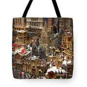 Village Christmas Scene Tote Bag