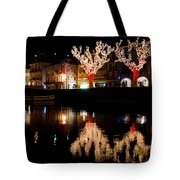 Village Reflected In The Water Tote Bag