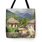 Village Scene In The Mountains Tote Bag