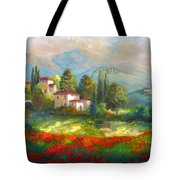 Village With Poppy Fields  Tote Bag