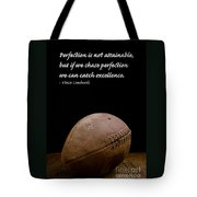 Vince Lombardi On Perfection Tote Bag