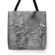 Vines After Snow In Black And White Tote Bag