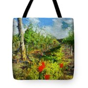 Vineyard And Poppies Tote Bag