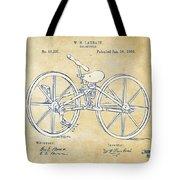 Vintage 1869 Velocipede Bicycle Patent Artwork Tote Bag