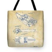Vintage 1972 Chris Craft Boat Patent Artwork Tote Bag