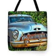 Vintage American Car In Yard Tote Bag