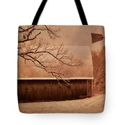 Vintage Barn And Windmill Winter Tote Bag