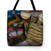 Vintage Baseball American Folk Art Tote Bag