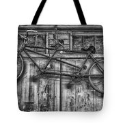 Vintage Bicycle Built For Two In Black And White Tote Bag