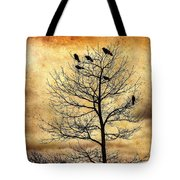 Vintage Blackbirds On A Winter Tree Tote Bag