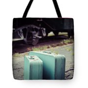 Vintage Blue Suitcases With Red Caboose Tote Bag