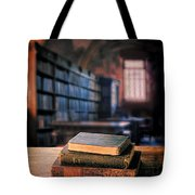 Vintage Books And Glasses In An Old Library Tote Bag