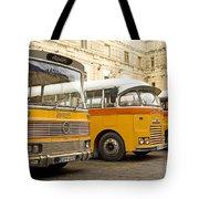 Vintage British Buses In Valetta Malta Tote Bag