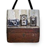 Vintage Cameras At Warehouse 54 Tote Bag by Toni Hopper