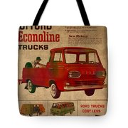 Vintage Car Advertisement 1961 Ford Econoline Truck Ad Poster On Worn Faded Paper Tote Bag