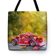 Vintage Car With Autumn Leaves Tote Bag