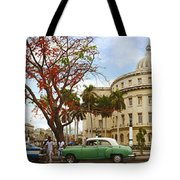 Vintage Cars Parked On A Street Tote Bag