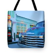 Vintage Chevrolet At The Gas Station Tote Bag