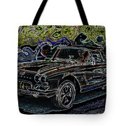 Vintage Chevy Corvette Black Neon Automotive Artwork Tote Bag