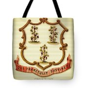 Vintage Connecticut Coat Of Arms - 1876 Tote Bag