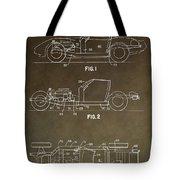Vintage Corvette Patent Tote Bag