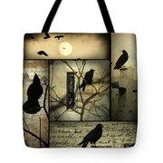Vintage Crow Art Collage Tote Bag