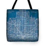 Vintage Detroit Rail Concept Street Map Blueprint Plan Tote Bag