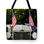 Vintage Ferguson Tractor With American Flags Tote Bag