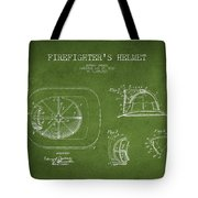 Vintage Firefighter Helmet Patent Drawing From 1932 - Green Tote Bag