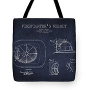 Vintage Firefighter Helmet Patent Drawing From 1932 - Navy Blue Tote Bag