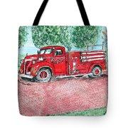 Vintage Firetruck Tote Bag