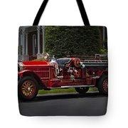 Vintage Firetruck Tote Bag by Susan Candelario