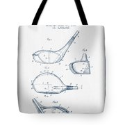 Vintage Golf Club Patent Drawing From 1926 - Blue Ink Tote Bag