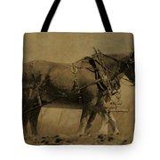 Vintage Horse Plow Tote Bag