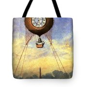 Vintage Hot Air Balloon Over Eiffel Tower Tote Bag