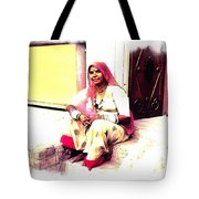 Vintage Just Sitting 2 - Woman Portrait - Indian Village Rajasthani Tote Bag