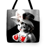 Vintage Lady Head Vase - Black And White With Red Tote Bag