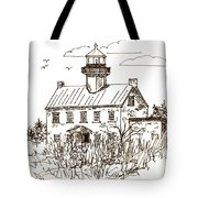 Vintage Lines Of East Point Lighthouse Tote Bag