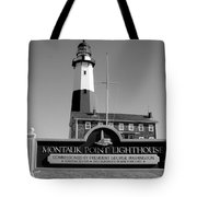 Vintage Looking Montauk Lighthouse Tote Bag
