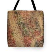 Vintage Manhattan Street Map Watercolor On Worn Canvas Tote Bag