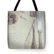 Vintage Menu Cards Knife And Fork Tote Bag