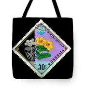 Medicinal Plants - Vintage Mongolia Stamp Tote Bag