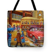 Vintage Montreal-st.catherine And Union-couples And Streetcars Tote Bag