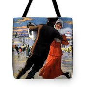 Vintage Poster Couples Skating At Christmas On Frozen Pond Tote Bag