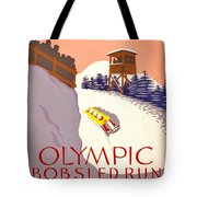 Vintage Poster - Olympics - Lake Placid Bobsled Tote Bag