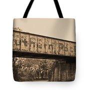 Vintage Railway Bridge In Sepia Tote Bag