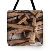 Vintage Rusty Square Nails Tote Bag