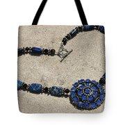 Vintage Sapphire Rhinestone Brooch Pendant Necklace 3635n Tote Bag