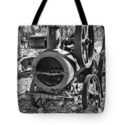 Vintage Steam Tractor Black And White Tote Bag by Douglas Barnard