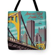Pittsburgh Poster - Vintage Travel Bridges Tote Bag by Jim Zahniser